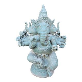 Multi-Headed Celadon-Glazed Ceramic Ganesh For Sale