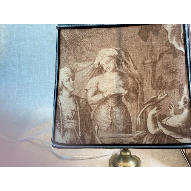 Sepia Toile Lampshades - a Pair For Sale - Image 4 of 7