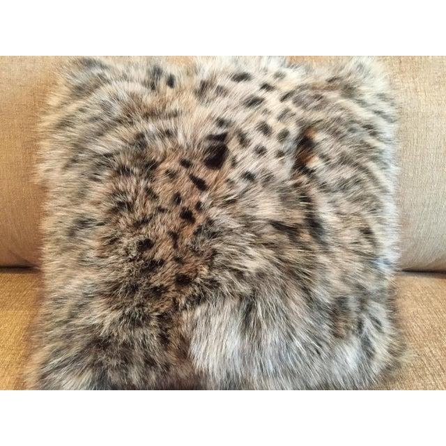 Animal Print Real Fox Fur Square Decorative Accent Pillow - Image 5 of 6