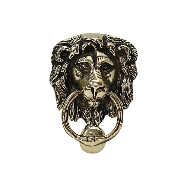 Antique English Brass Lion Door Knocker - Antique English Brass Lion Door Knocker Chairish
