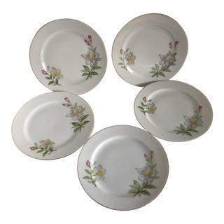 Petite Vintage Side Dish Floral Plates - Set of 5 For Sale