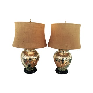 1950's Bamboo Mercury Glass Lamps - a Pair