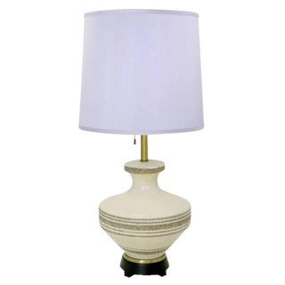 Lightolier Hand Thrown Stippled Glaze and Striped Pottery Table Lamp For Sale