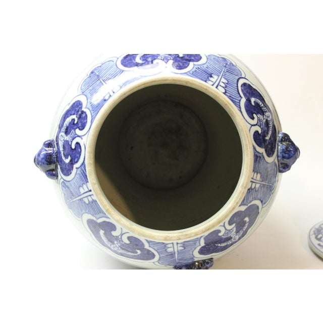Large Chinese Blue and White Covered Jar For Sale - Image 10 of 12