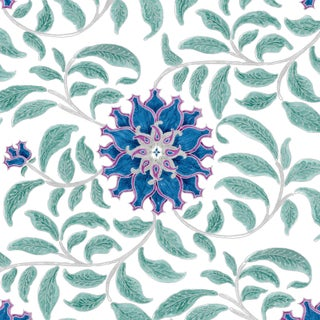 Ferran Ming Rose Fabric, Sample, Sapphire in French Cotton Twill For Sale