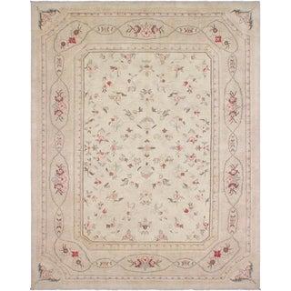 Kafkaz Peshawar Sabra Ivory/Tan Wool Rug - 9'0 X 11'9 For Sale