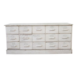 Vintage Country Primitive Painted 15-Drawer Store Counter For Sale