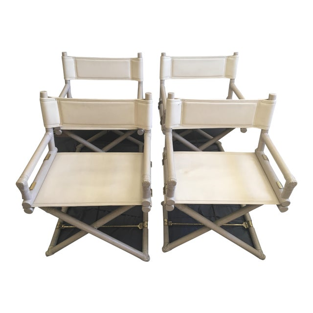 1950s Vintage McGuire Safari Leather and Brass Directors Chairs-Set of 4 For Sale