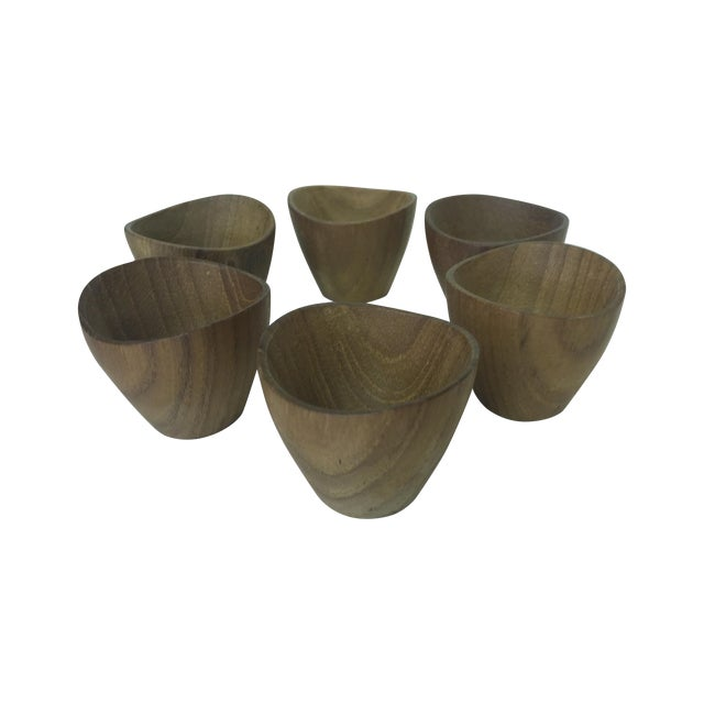 Ernst Henriksen Tiny Danish Teak Bowls - Set of 6 - Image 1 of 11