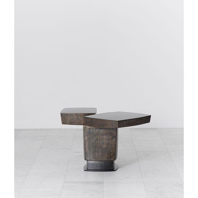 Contemporary Gary Magakis, Ledges 2 Patined Steel Side Table, USA, 2016 For Sale - Image 3 of 8