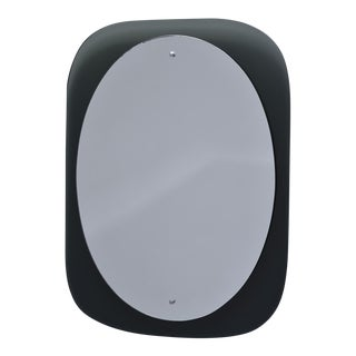 Cristal Art Oval Mirror With Black Glass Base For Sale