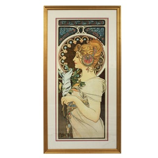 Framed Art Nouveau Alphonse Mucha Feather Giclee Print For Sale