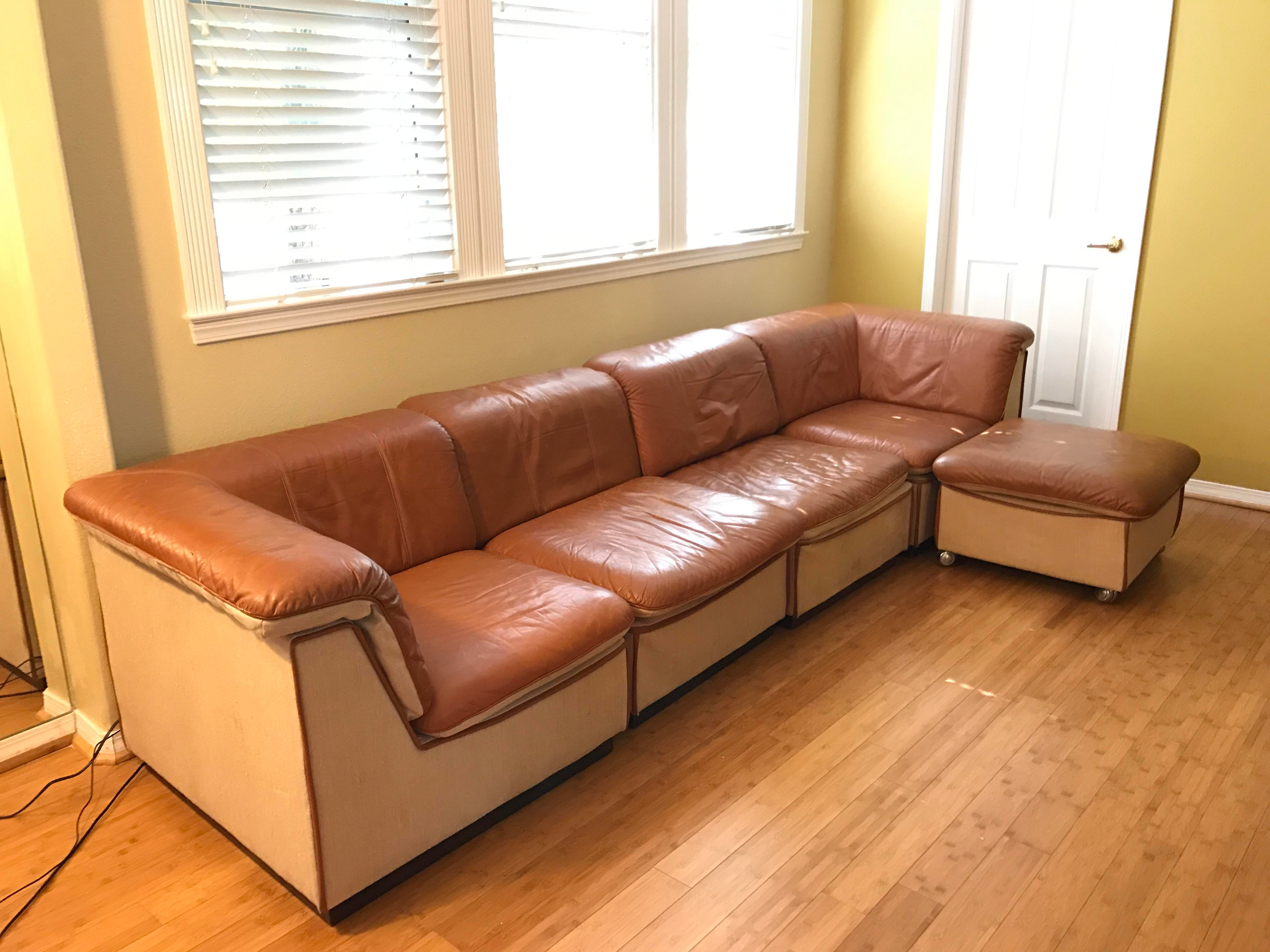 Vintage Rapport Brown Leather Sectional Sofa   Set Of 5 For Sale   Image 9  Of
