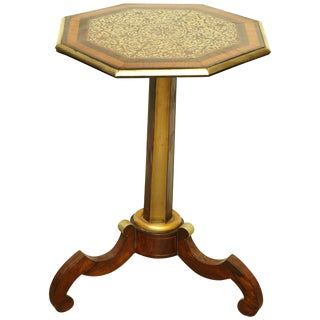 Regency Brass Inlaid Side Table For Sale