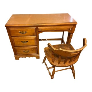 Americana Wooden Desk & Chair For Sale
