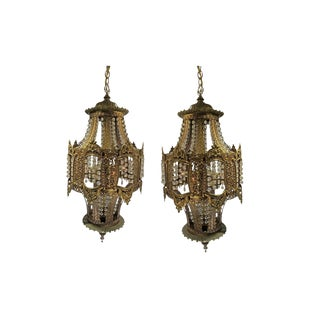 1960s Vintage Crystal & Brass Trimmed Chandeliers - a Pair For Sale