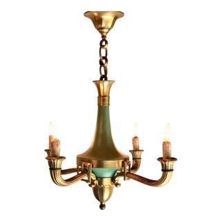 Mid 20th Century French 4 Arm Bronze & Patina Empire Style Chandelier For Sale