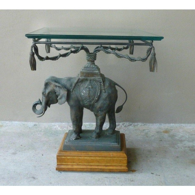 1970's Vintage Maitland Smith Bronze Leather & Glass Elephant Table For Sale - Image 13 of 13