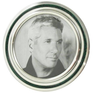 Italian Silver Plate and Malachite Enamel Large Round Picture Photo Frame