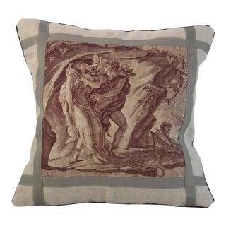 Antique Belgian Toile Du Jouy Textile Pillow For Sale