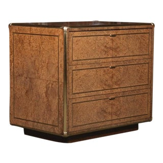 Pair of Burl Wood and Brass-Mounted Campaign Style Side Cabinets by John Stuart For Sale