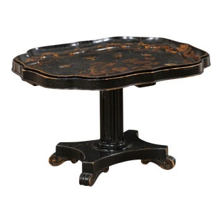 Antique English Chinoiserie Tray-Top Pedestal Coffee Table in Black and Gold For Sale