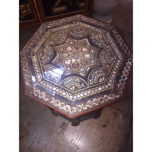 Black Vintage Moroccan Octagon Mother of Pearl Inlay Table For Sale - Image 8 of 10