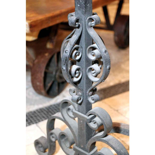 Heavy Wrought Iron Andirons - A Pair - Image 6 of 7