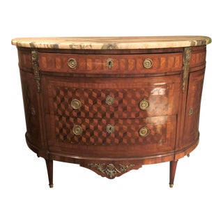 Pair Antique French Louis XVI Parquetry and Marble Top Demi-Lune Commodes, Circa 1890
