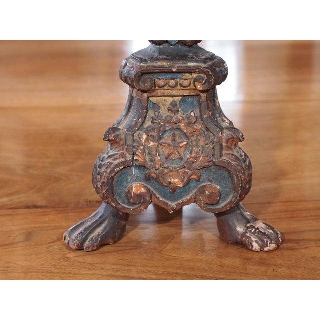 Wood 19th Century Italian Altar Stick Lamps - Pair For Sale - Image 7 of 7