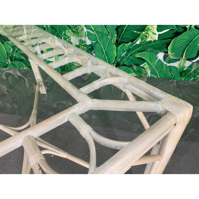 1980s Rattan Glass Top Dining Table For Sale - Image 5 of 6
