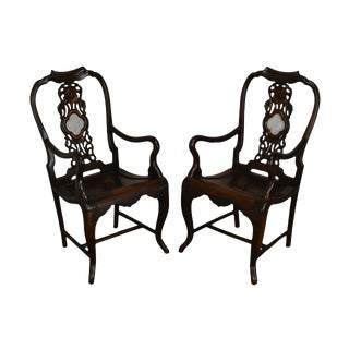 Asian Hardwood Pair of Vintage Carved Arm Chairs With Marble Medallions For Sale