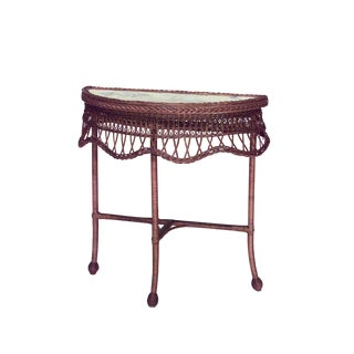19th Century American Natural Wicker Console Table For Sale