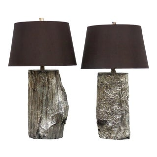 Silver Gilt Driftwood Lamps - A Pair
