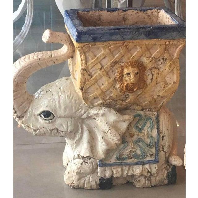 Vintage Italian Glazed Garden Stool Planters Elephants -A Pair For Sale - Image 9 of 11