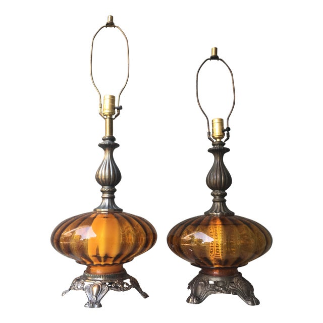 Hollywood Regency Vintage Amber Glass Lamps - Pair - Image 1 of 8