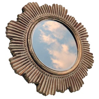 Vintage Cast Louis XIV Style Sunburst Mirror With Beveled Clear Glass For Sale