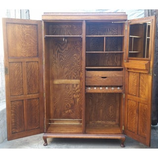 Antique English Fitted Interior Tiger Oak Armoire Preview