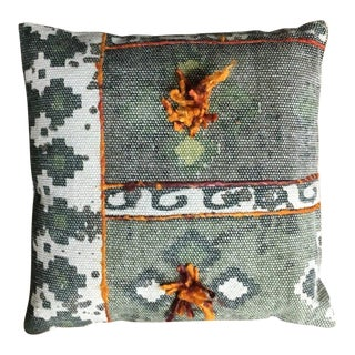 16x16 Inch Square Tribal Gray Embroidered Pom Durable Geometric Cotton Pillow For Sale
