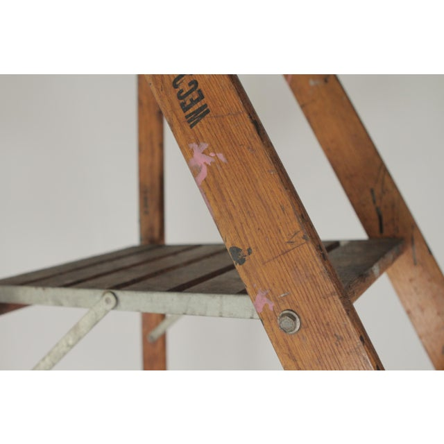 Metal 1920s Industrial Folding Ladder With Standing Platform For Sale - Image 7 of 9