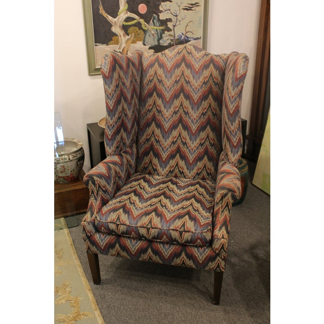 Americana Late 20th Century Flame Stitch Wing Chair For Sale - Image 3 of 8