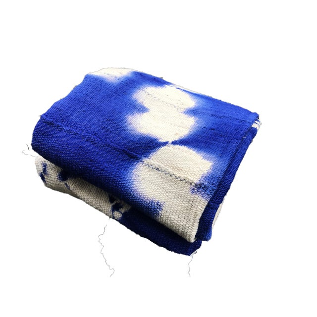 Superb Fine Weaving Blue and white mud-cloth cotton fabric, with geometric design handwoven, hand-sewn, and hand-dyed by...