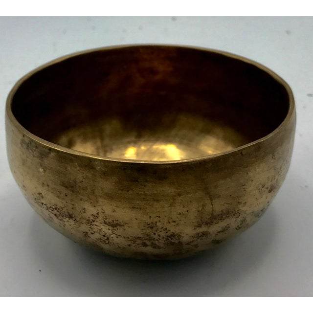 Brass Antique Tibetan Hammered Brass Singing Bowl For Sale - Image 7 of 7