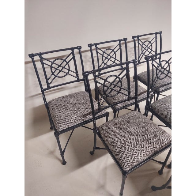 Metal 1960s Vintage Black Patio Chairs in Decorator Fabric - Set of 6 For Sale - Image 7 of 10