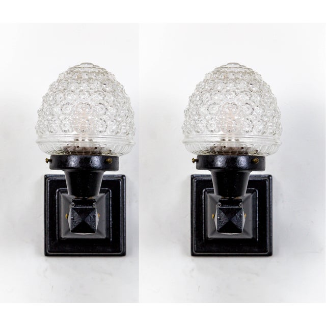 Glass Acorn Iron Mounted Sconces - A Pair For Sale - Image 11 of 11