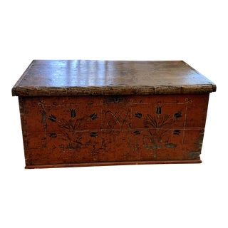 Antique Scandinavian Red Folk Art Trunk For Sale