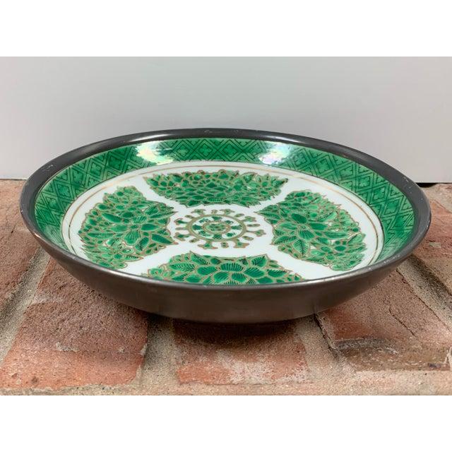 Metal Vintage Green & White Porcelain Bowl / Catchall Encased in Pewter For Sale - Image 7 of 7