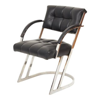 Vintage 1988 Cal-Style Cantilevered Chrome Armchair For Sale