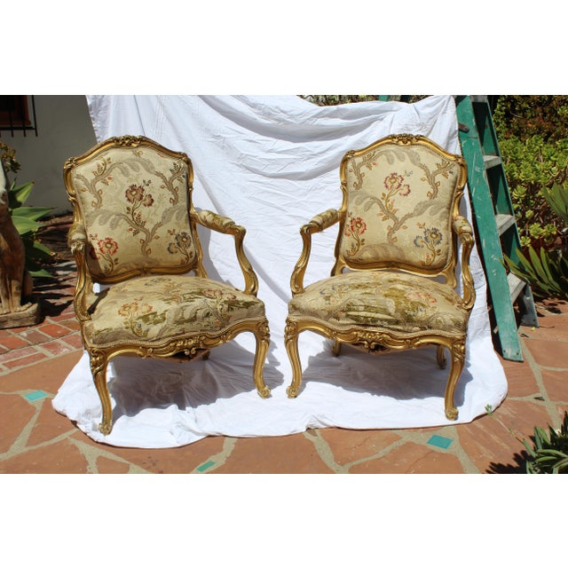 Louis XV Pr. Of Signed Maison Jansen Arm Chairs Late 19c. Louis XV Style For Sale - Image 3 of 12