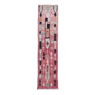 Vintage Pink Abstract Boujad Runner For Sale